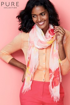 Pure Collection Orange Ultra Soft Printed Scarf