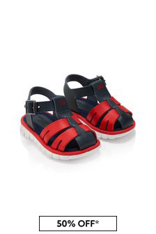 Dolce & Gabbana Kids Boys Blue Leather Sandals