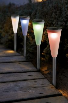 Buy lighting outdoor lighting white outdoorlighting from the next uk set of 4 solar colour changing path finders mozeypictures Images