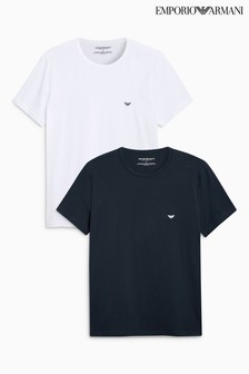 Emporio Armani White/Navy Lounge T-Shirt Two Pack