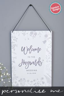 Personalised Aluminium Floral Welcome To The Wedding Sign by Oakdene