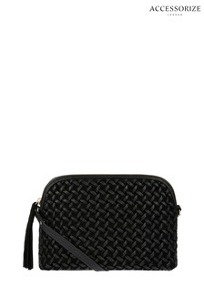 Accessorize Black Ariana Woven Dome Leather Cross Body Bag