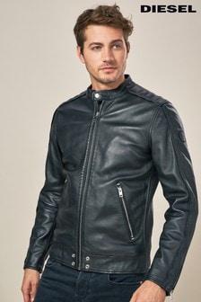 Diesel Black L Quad Leather Biker Jacket