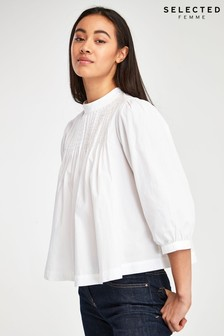 Selected Femme White Nova Cropped Blouse