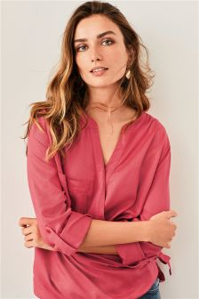 Embroidered Tencel® Wrap Top