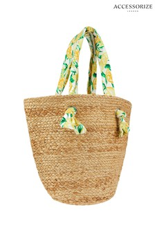 Accessorize Nude Citrus Handle Straw Tote Bag