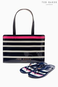 Ted Baker Navy Ned Stripe Flip Flop Bag Icon Set
