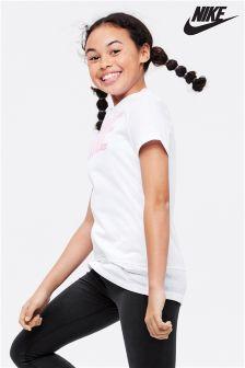 Белая/розовая футболка с логотипом Nike