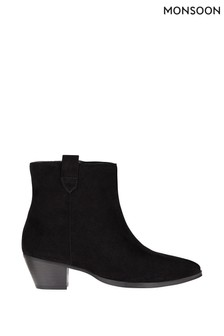 Monsoon Black Western Suede Ankle Boots