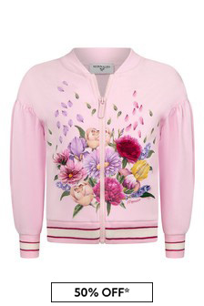 Monnalisa Pink Cotton Zip Up Cardigan
