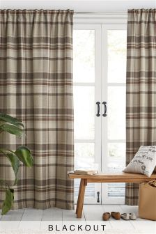 Natural Woven Stirling Check Multi Header Blackout Curtains