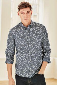 Long Sleeve Chambray Printed Shirt