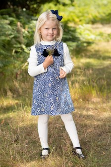 Trotters London Blue Emma Cord Bunny Pinafore