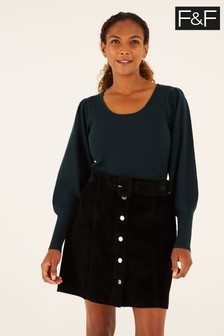 F&F Black Cord Belted Skirt