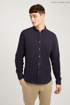 Chemise slim en jersey French Connection bleue