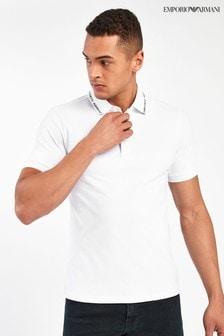 Emporio Armani White Poloshirt With Logo Tipping