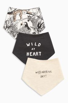 Slogan Animal Print Dribble Bibs Three Pack