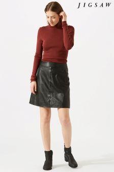 Jigsaw Black Mini Leather Skirt