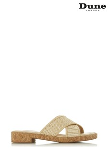 Dune Ladies Natural Cross Strap Sandal Slider