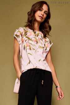 Ted Baker Roozie Pink Peach Print Blouse