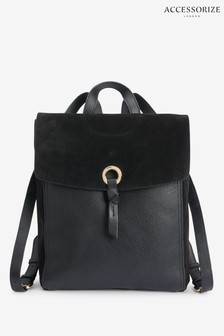 Accessorize Black Ring Tab Leather Backpack