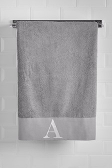 Embroidered Initial Bath Towel