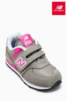 New Balance Grey/Pink 574 Velcro
