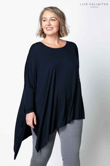 Live Unlimited Black Asymmetric Poncho Top