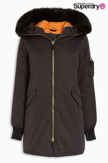 Exclusive To Label Superdry Black Long Length Cacoon Parka