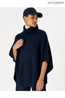 Accessorize Blue Cosy Knit Poncho