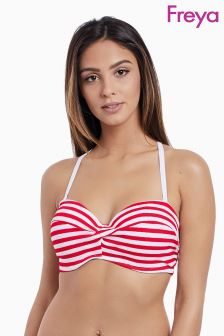Freya Red Stripe Drift Away Twist Bandeau Bikini