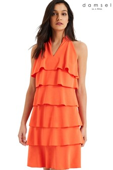 Damsel In A Dress Orange Lenia Ruffle Dress