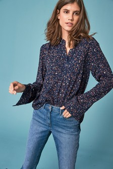 Blusen, Tops & Shirts New Ladies Oversize Animal Leopard Print Roll Sleeve Button Denim Shirt Top
