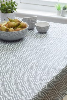 Wipe Clean Grey Geo PVC Tablecloth