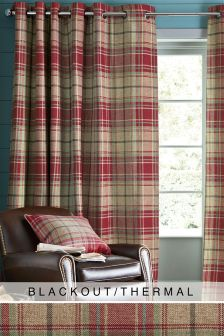Morcott Woven Check Eyelet Blackout/Thermal Curtains