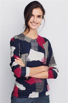Printed Long Sleeve Sweater