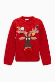 Рождественский джемпер с оленем для девочек (3-16 лет)
