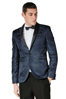 Patterned Skinny Fit Tuxedo Suit