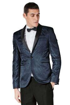 Patterned Skinny Fit Tuxedo Suit: Jacket