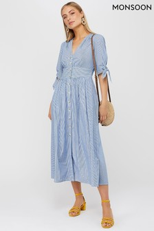 Monsoon Ladies Blue Dolly Stripe Midi Dress