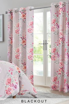 Mauve Floral Blackout Eyelet Curtains