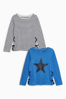Eyelet Side Long Sleeve T-Shirts Two Pack (3-16yrs)