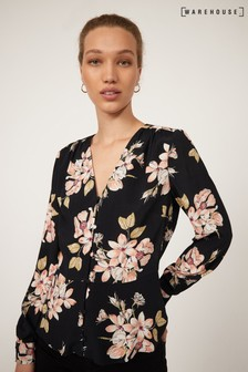 Warehouse Black Sia Floral Printed Top
