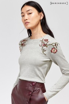 Warehouse Grey Floral Bird Embroidered Jumper