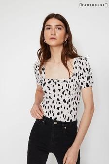 Warehouse Kastiges T-Shirt mit Dalmatinerpunkten, weiß