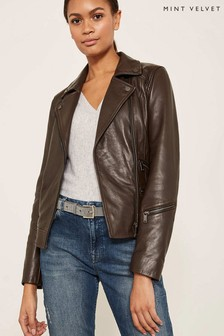 Mint Velvet Brown Casual Washed Biker Jacket