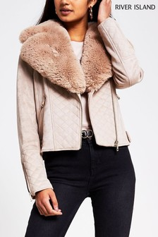 River Island Brown Light Quilted Suedette Biker Jacket