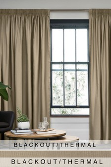 Pencil Pleat Blackout/Thermal Cotton Curtains