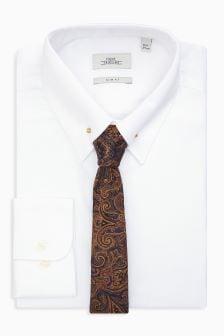 Pin Collar Slim Fit Shirt And Tie Set