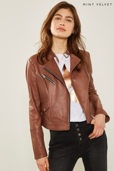 Mint Velvet Tan Leather Biker Jacket